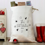 Personalised Winter Star Christmas Sack