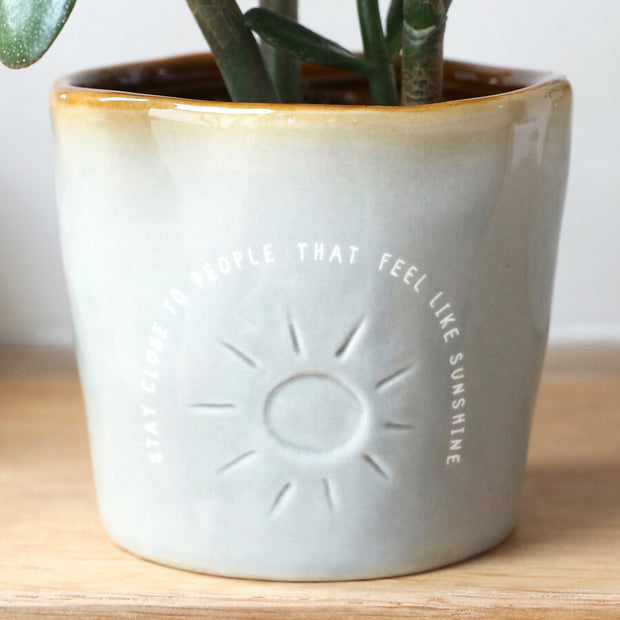 Glazed Ombré 'People Who Feel Like Sunshine' Planter