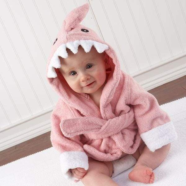 Let the Fin Begin Pink Shark Baby Robe