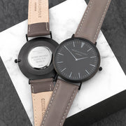 Men's Personalised Watch With Black Face in Ash