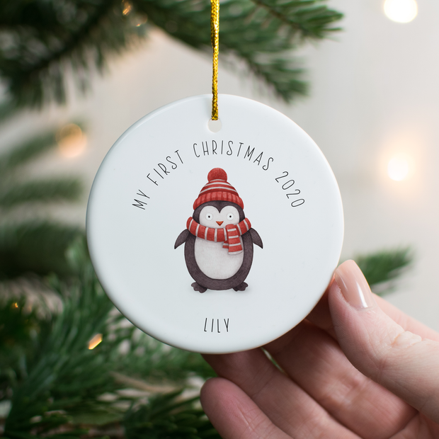 Personalised 1st Christmas Penguin Decoration