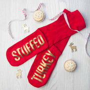 Personalised Crimson & Gold Christmas Day Socks