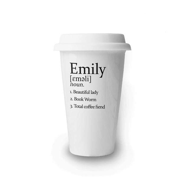 Personalised Name Definition Ceramic Travel Mug