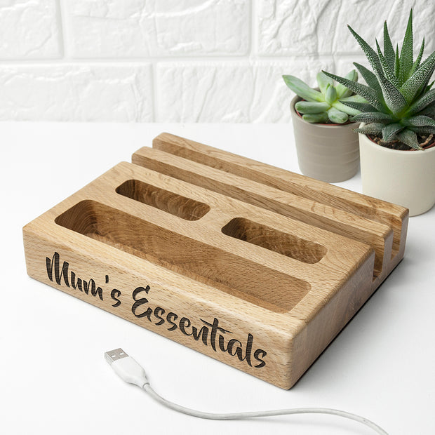 Personalised Oak Multi Tablet and Phone Holder