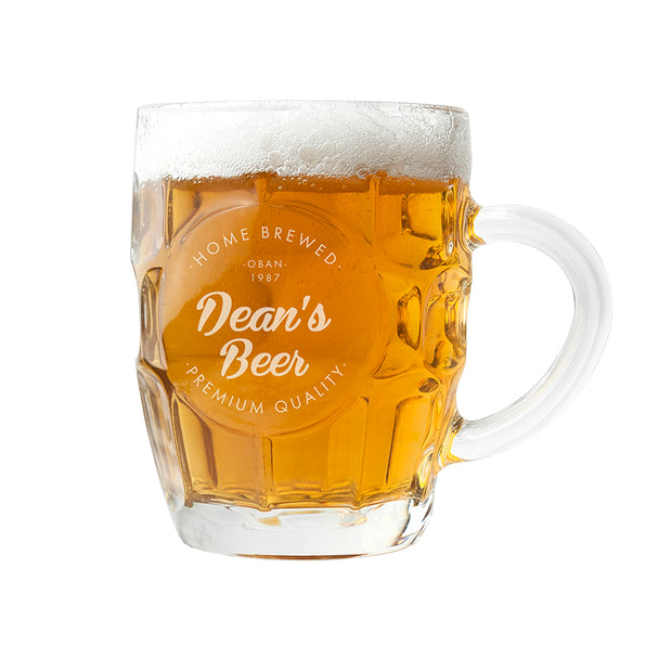 Personalised Home Brewed Dimpled Beer Glass