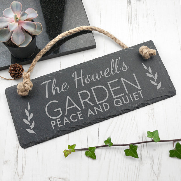 Personalised Garden Slate Hanging Sign