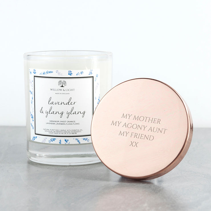 Personalised Luxury Lavender Candle With Copper Lid