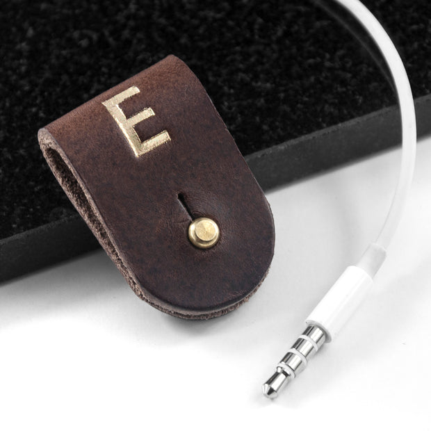 Monogrammed Leather Earphones Holder