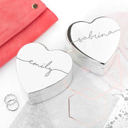 Personalised Heart Script Jewellery Box