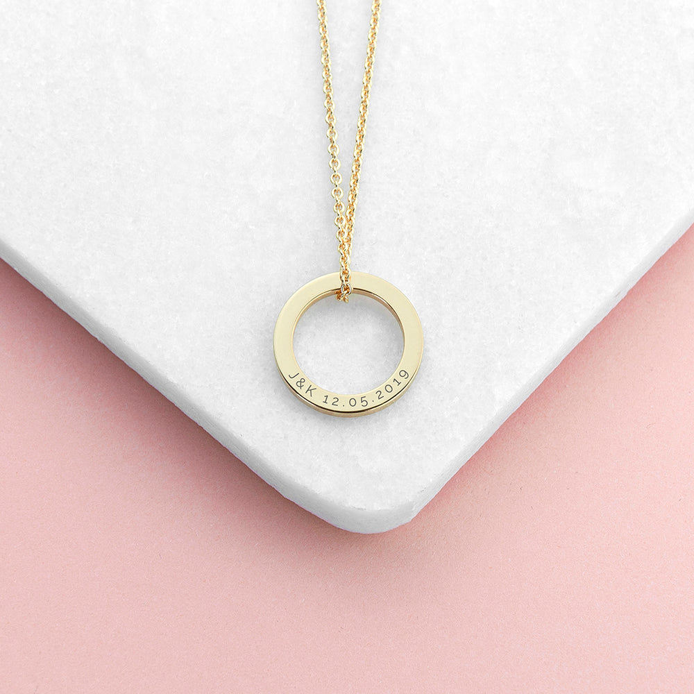 Personalised Gold Plated Ring Necklace
