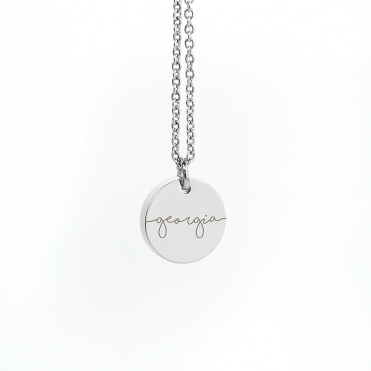 Personalised Silver Disc Necklace
