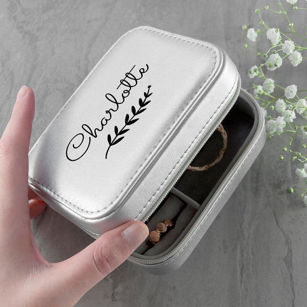 Personalised Botanical Silver Travel Jewellery Case