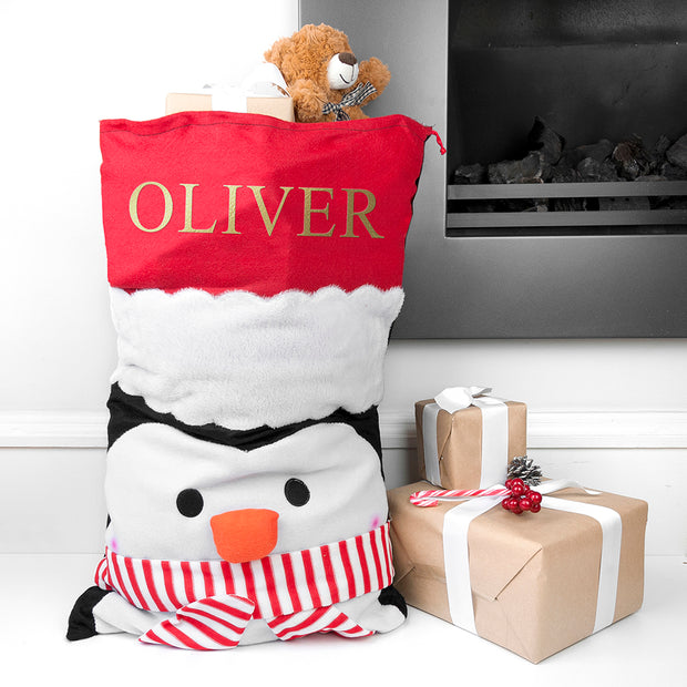 Personalised Christmas Penguin Santa Sack