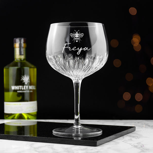 Personalised Crystal Bee Icon Gin Goblet