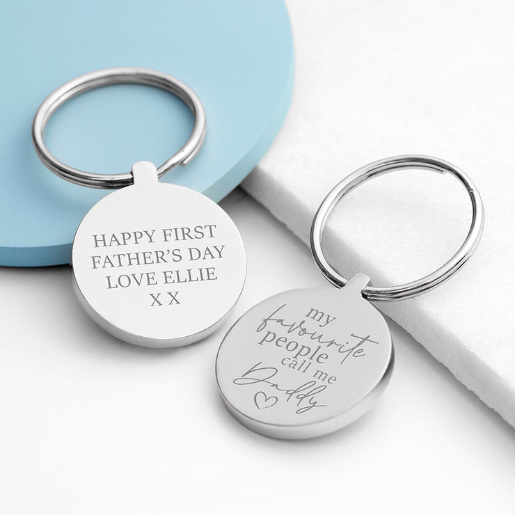 Personalised Favourite Daddy Silver Keyring