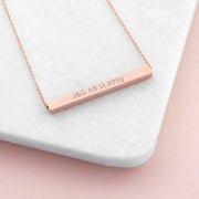 Personalised Rose Gold Horizontal Bar Necklace
