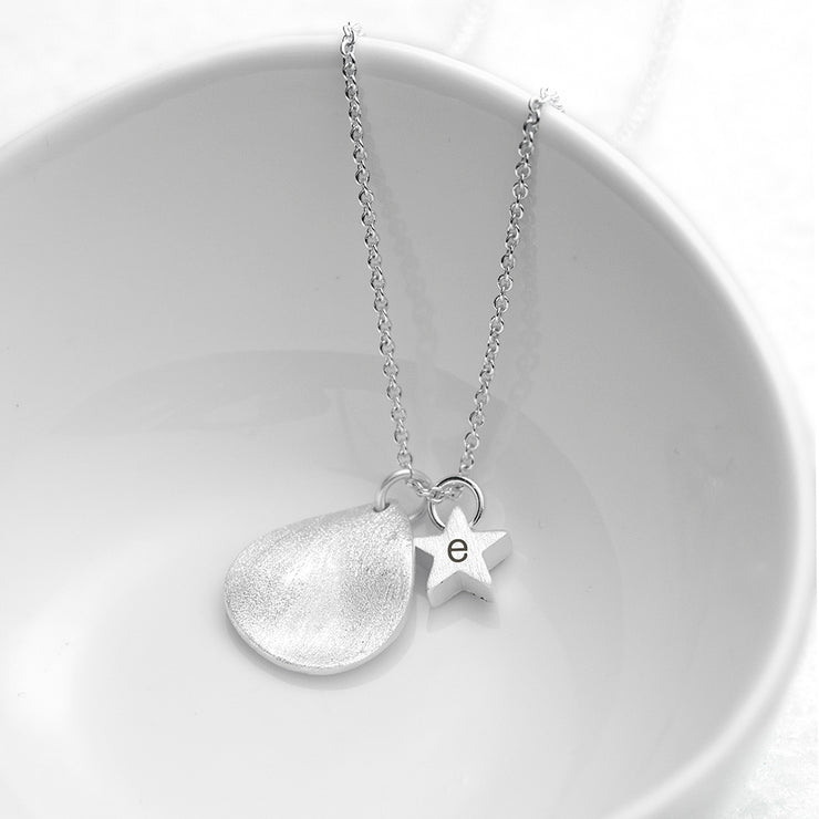 Personalised Matte Star and Drop Necklace