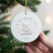Baby's First Christmas Polar Bear Ceramic Decoration