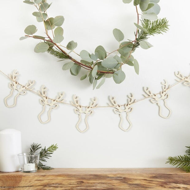 Stag Shaped Wooden Christmas Bunting
