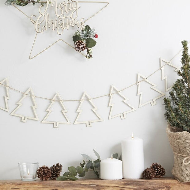 Wooden Christmas Tree Bunting