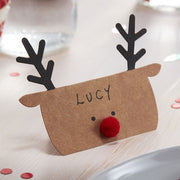 Kraft Reindeer Shaped Christmas Place Cards