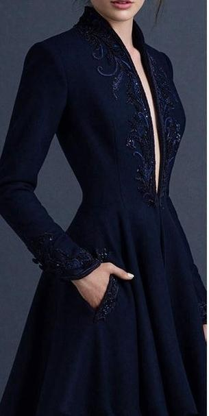 Custom Made Navy Blue Embroidery Satin  Prom Dress CJ222