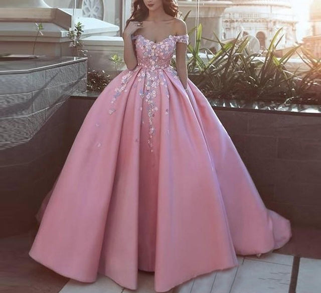 Saudi Arabia Pink Long Prom Gowns