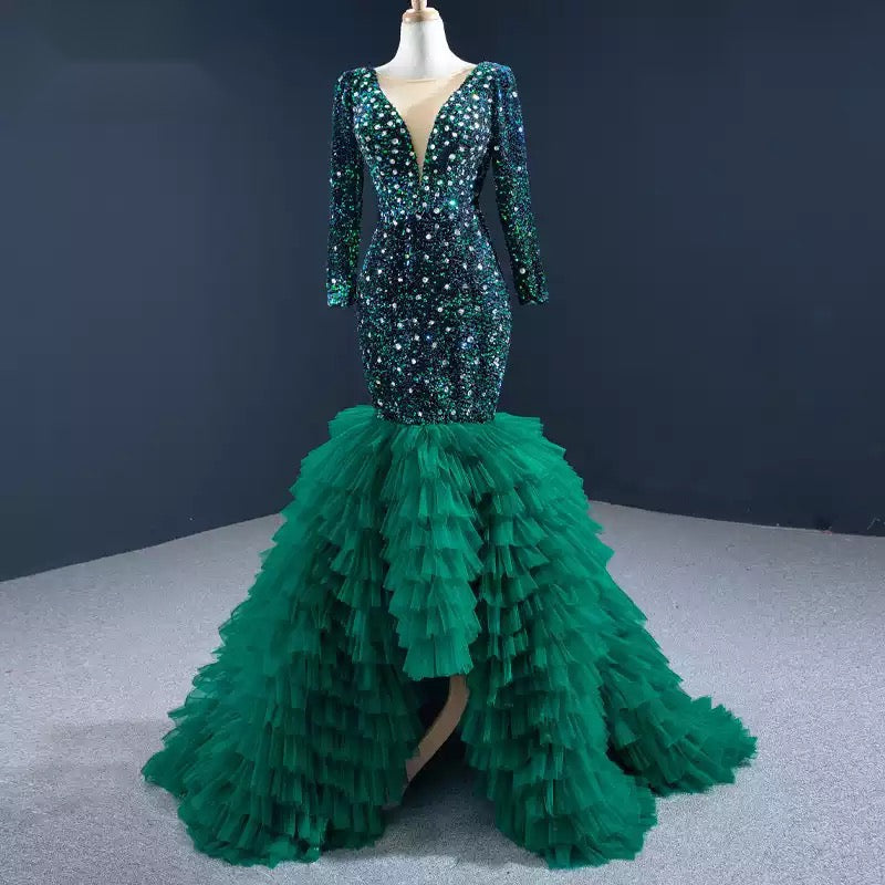 Green Mermaid Cocktai Dress