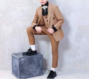 Khaki British Style Boy Suit