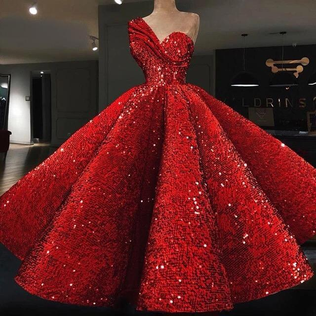 Red Sequined Prom Dress