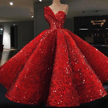 Load image into Gallery viewer, Red Sequined Prom Dress