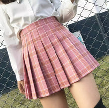 Charger l'image dans la galerie, Women skirt high waist pleated plaid skirts