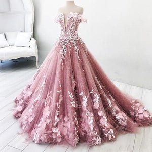 Lace Appliqued Pearls Bridal Wedding Gown