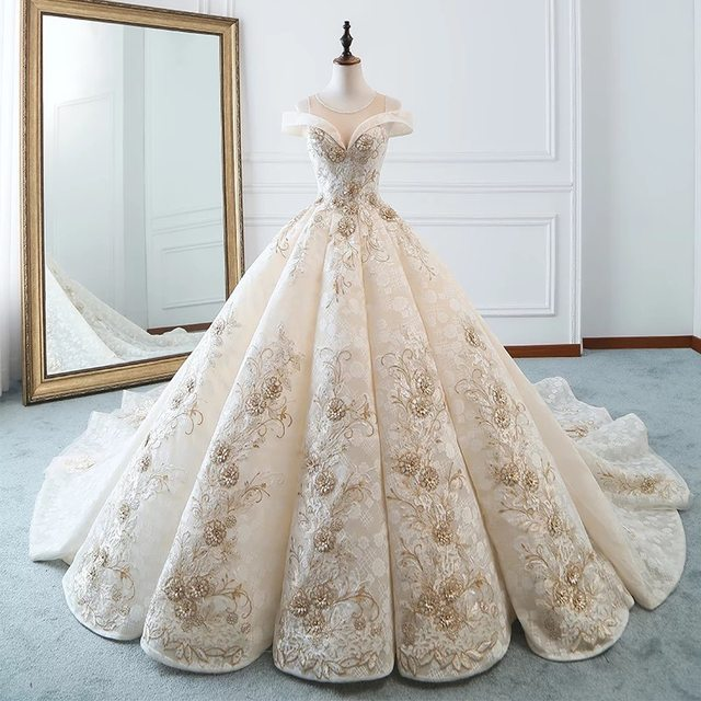 Empire Embroidery Puffy Bridal Gowns