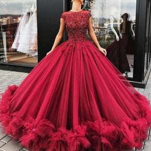 Burgundy Long Prom Gown