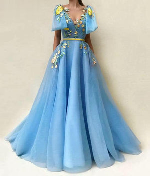 Arabic Style Embroidery Light Blue Dress