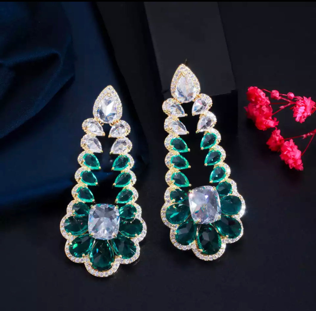 Cubic Zirconia Long Drop Green Earrings