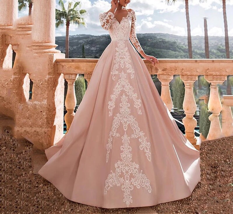 Satin Wedding Dress With Lace Appliques
