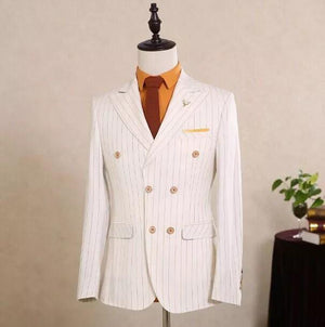White Stripe Formal Suit For Men