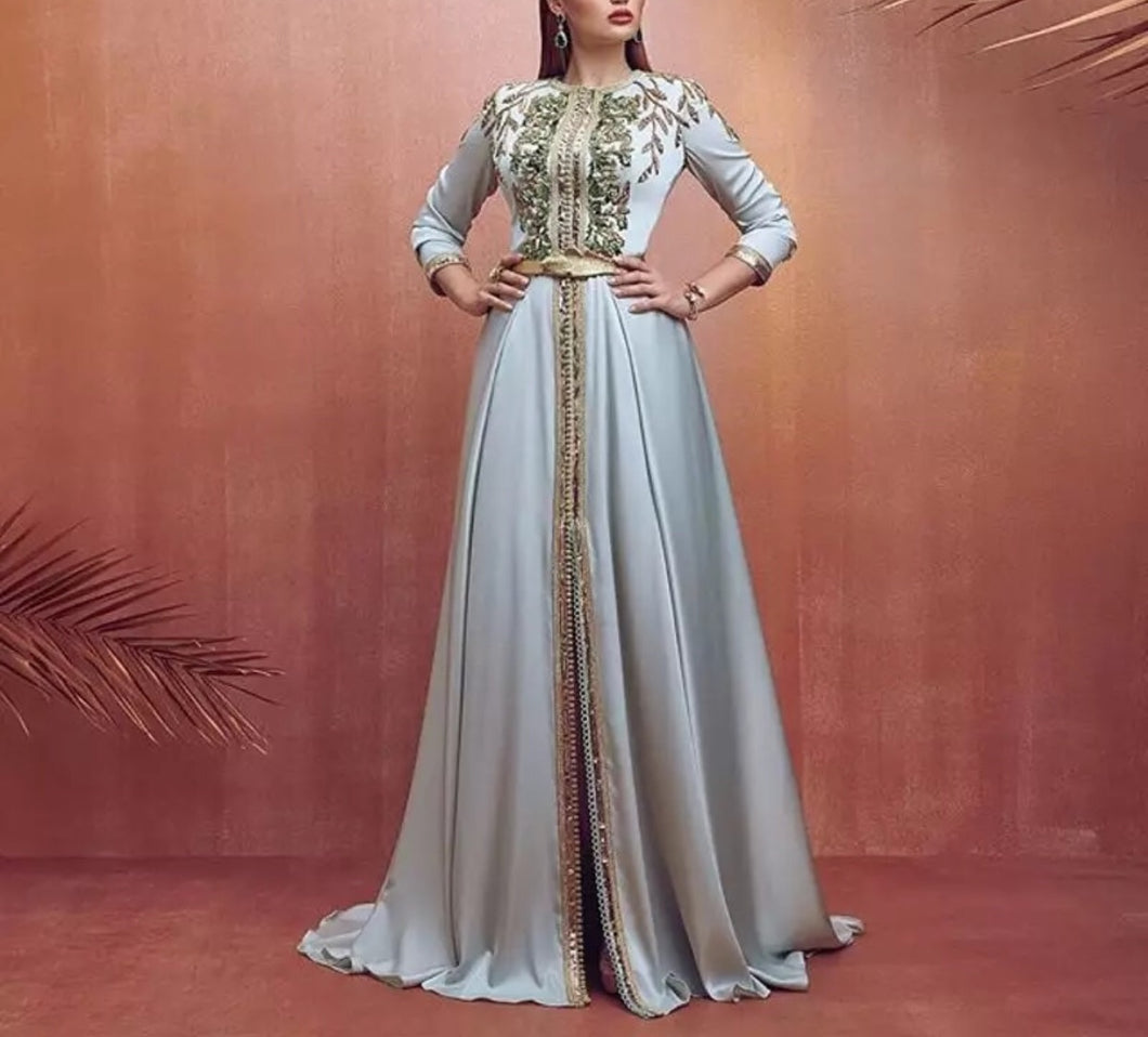 Blue Moroccan Caftan Evening Dress