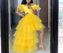 Charger l'image dans la galerie, Bright Yellow Women Homecoming Dress