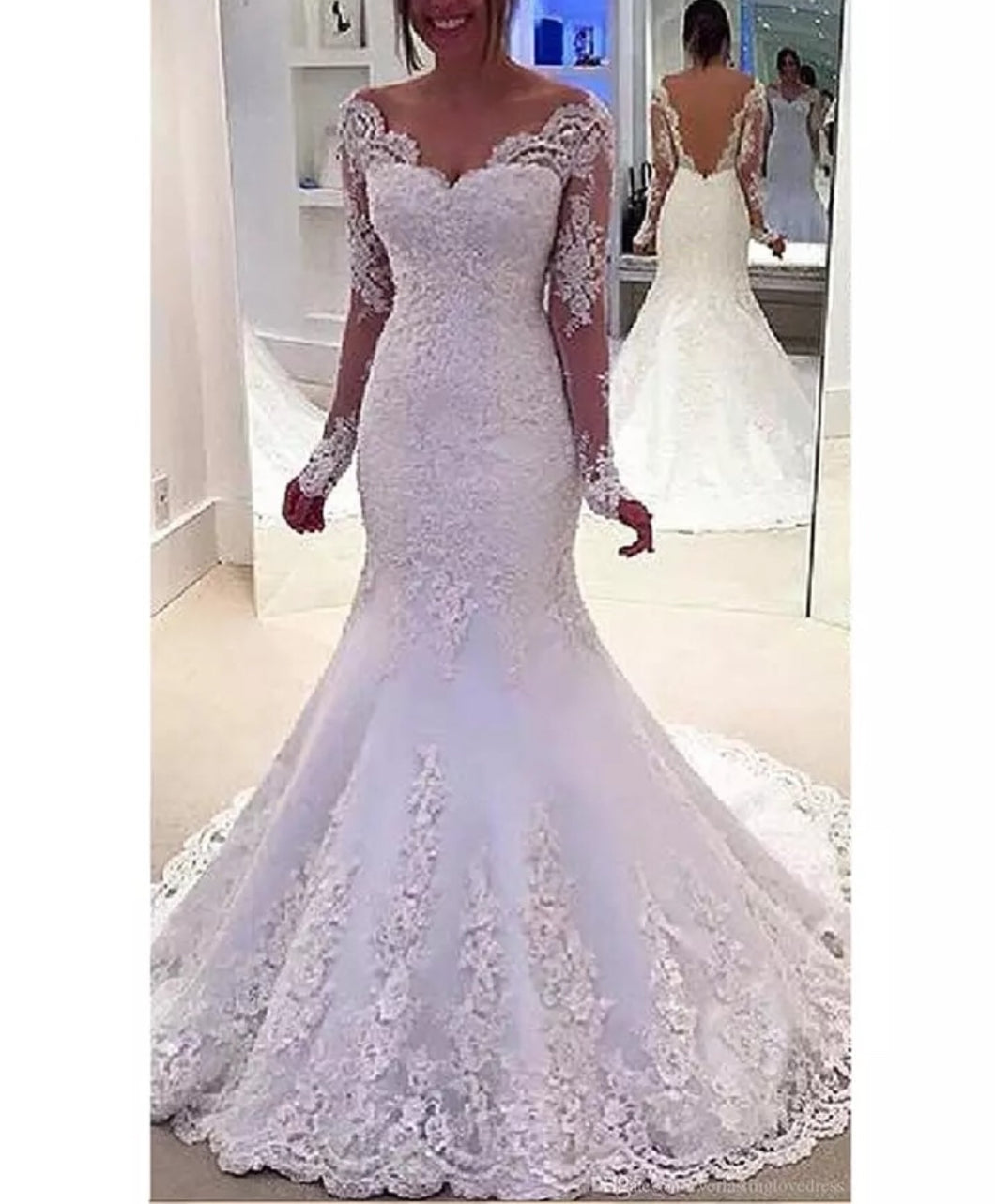 Luxury Long Sleeves Lace Bridal Gown