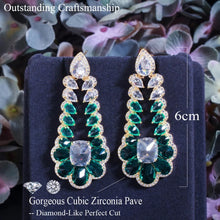 Load image into Gallery viewer, Cubic Zirconia Long Drop Green Earrings