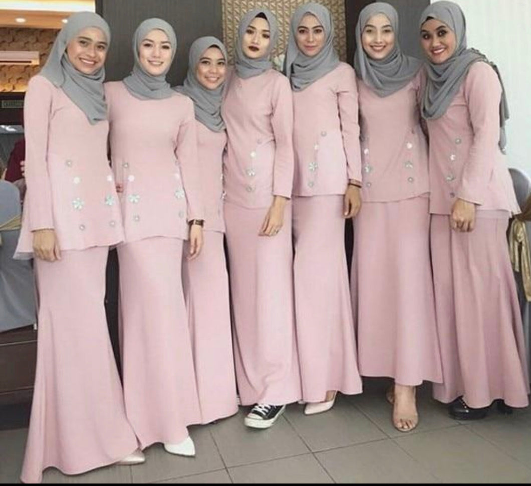 Muslim Pink Mermaid Bridesmaid Dress