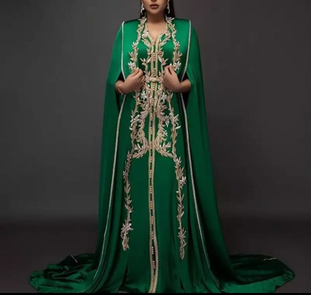 Light Green Moroccan Caftans Evening Dress