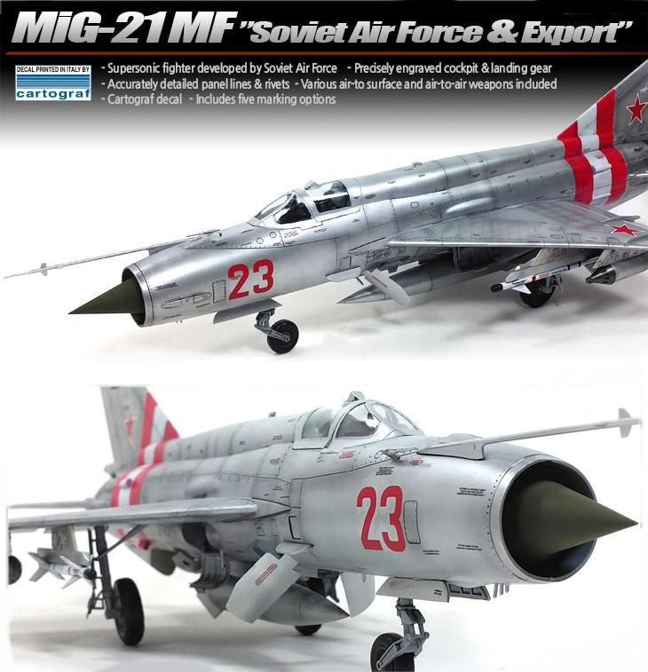 Academy Aircraft 1/48 MiG21MF Soviet Air Force & Export Supersonic Jet Fighter Kit