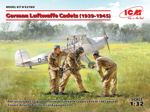 ICM Aircraft 1/32 WWII German Luftwaffe Cadets 1939-1945 (3) (New Tool) Kit