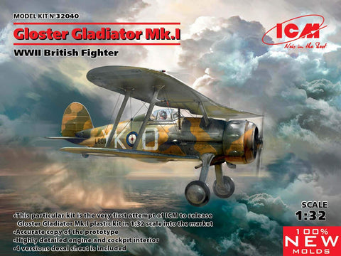 ICM Aircraft 1/32 WWII British Gloster Gladiator Mk I Fighter (New Tool) Kit