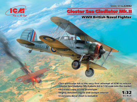 ICM Aircraft 1/32 WWII British Gloster Sea Gladiator Mk II Naval Fighter Kit