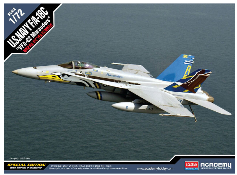 Academy Aircraft 1/72 F/A18C VFA82 Marauders USN Fighter Special Edition Kit